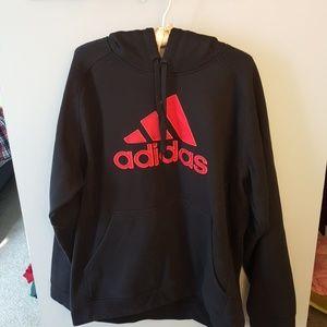 Adidas brand. Black and red hooded sweatshirt. Men